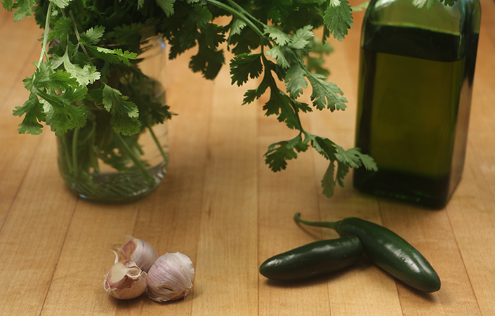 Roasted Chili & Garlic Cilantro Pesto