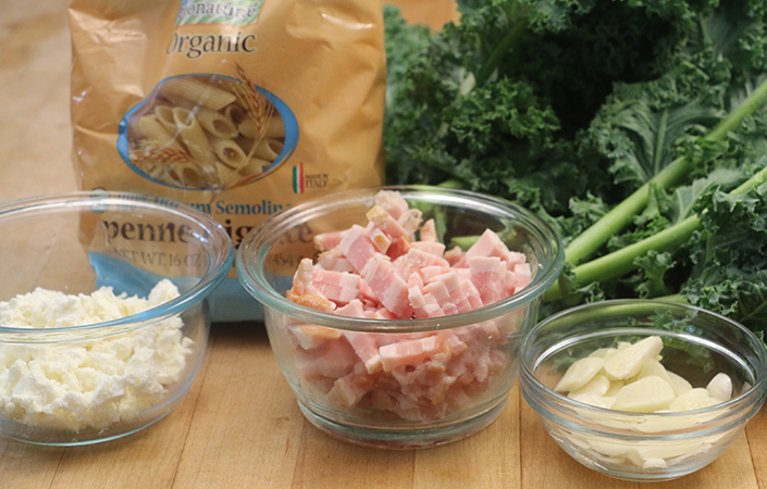 Garlic Kale Pasta by Early Morning Farm CSA
