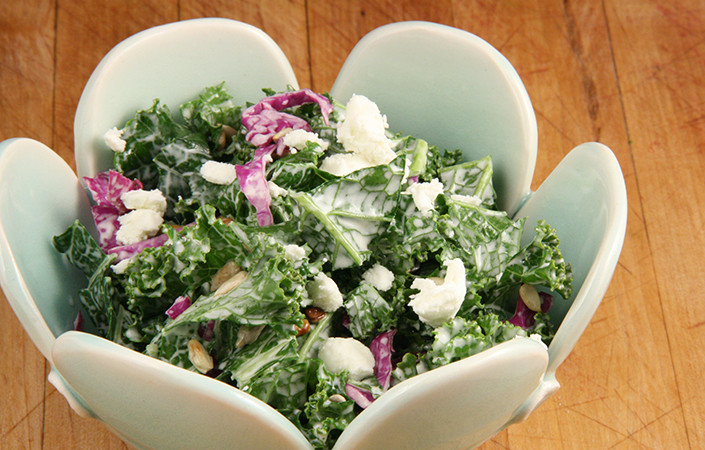 Kale Slaw with Goat Cheese
