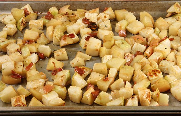 Maple Roasted Celeriac & Apples with Bacon