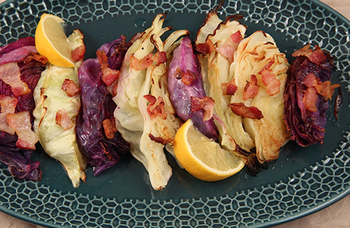 Roasted Cabbage with Bacon by Early Morning Farm CSA