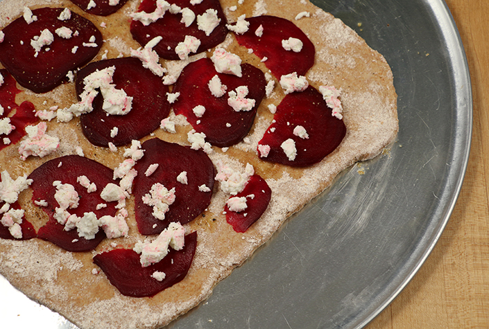 Beet and Goat Cheese Flatbread by Early Morning Farm CSA