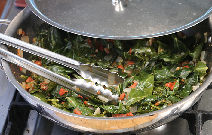 Stewed Collard Greens with Tomatoes by Early Morning Farm