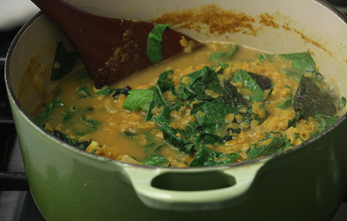 Curried Lentils and Mustard Greens by Early Morning Farm CSA