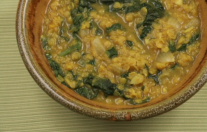 curried lentils and mustard greens1