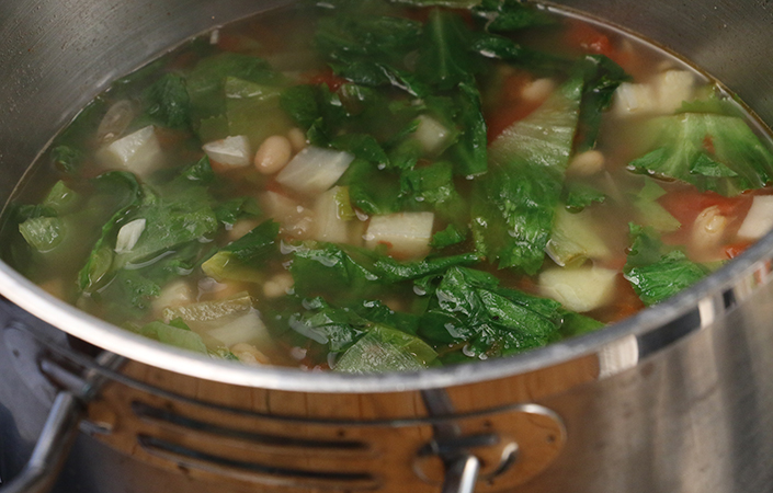 White Bean, Kohlrabi, and Escarole Soup