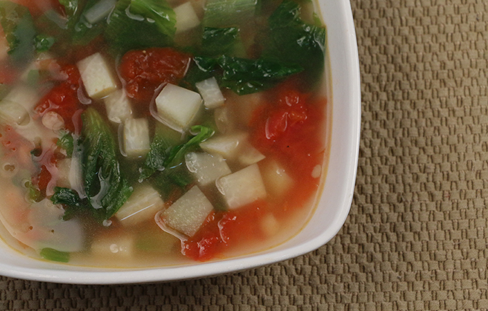 White Bean, Escarole, and Kohlrabi Soup