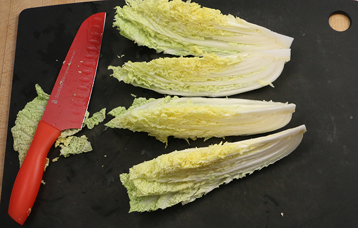 Grilled Napa Cabbage with Peanut Dressing