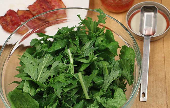 Warm Mizuna, Arugula, & Spinach Salad with Bacon