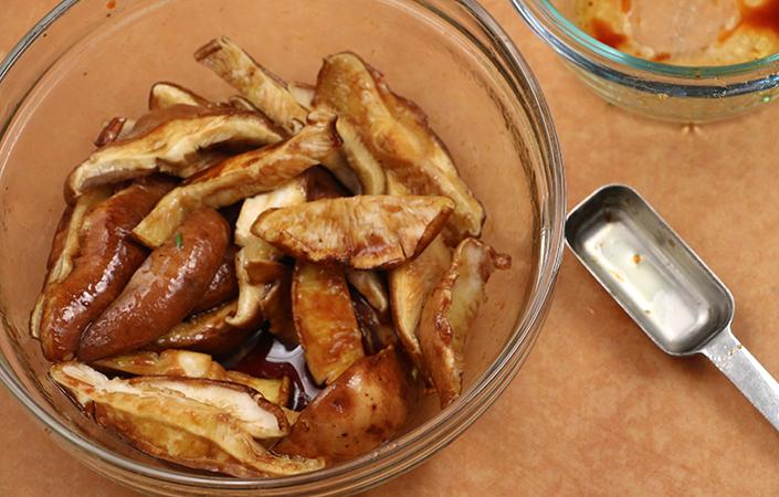 Warm Mizuna, Arugula, & Spinach Salad with Shitake Mushrooms