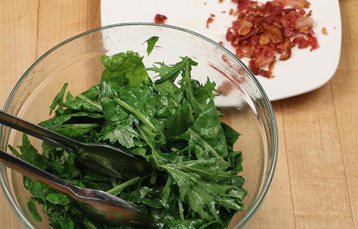 Warm Mizuna, Arugula, & Spinach with Bacon