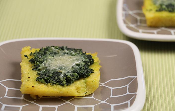 Polenta Squares with Kale Pesto