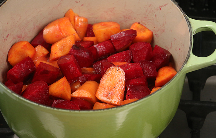 Butter Braised Beets and Carrots by Early Morning Farm CSA