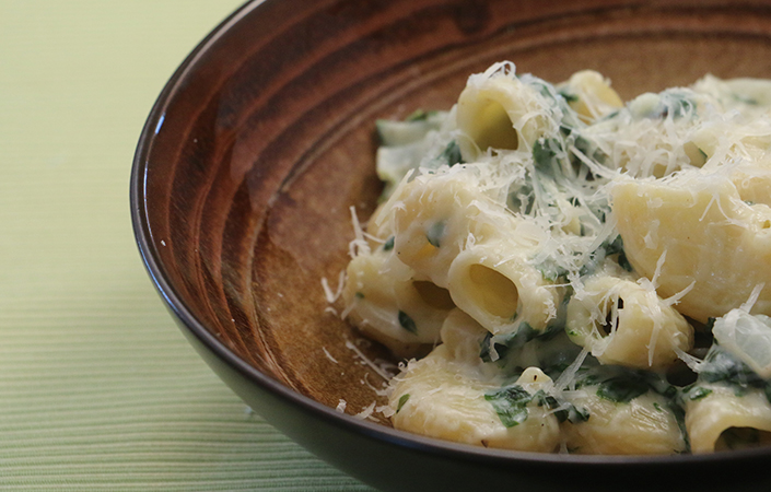 Creamed Swiss Chard & Spring Onion Pasta