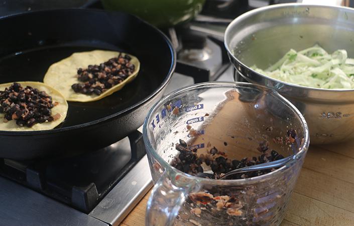 Black Bean & Cabbage Crispy Tacos