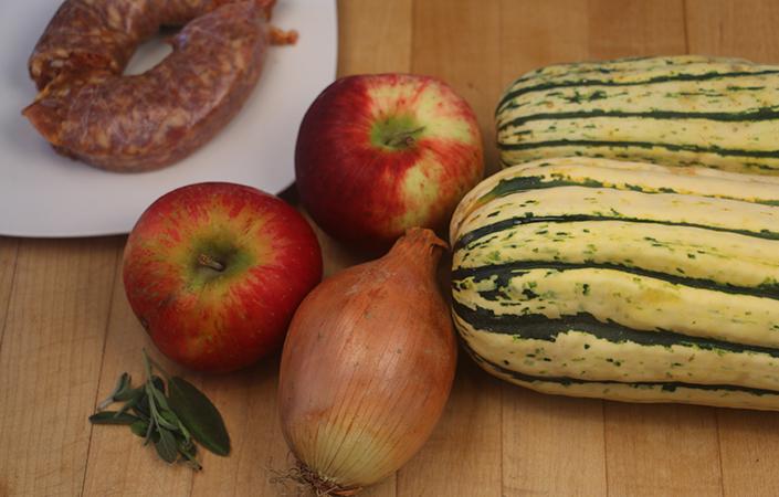 Delicata Squash and Apple Hash