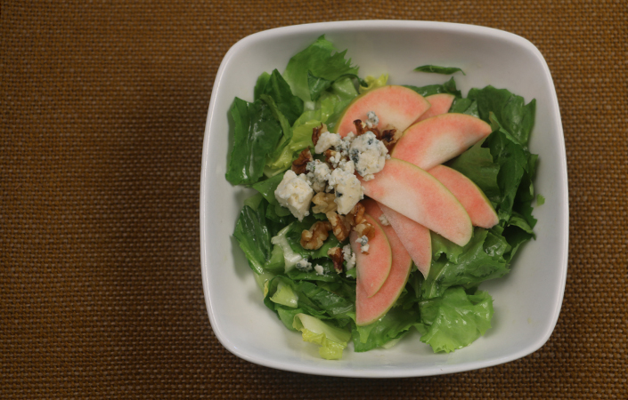 Escarole Salad with Apples, Blue Cheese, & Walnuts