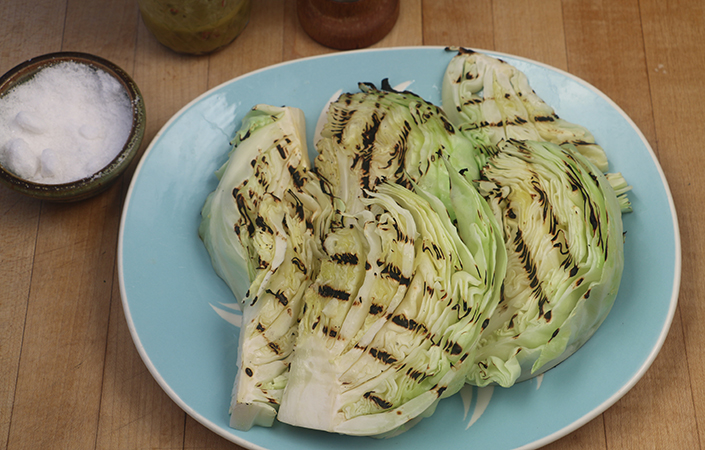 Grilled Cabbage with Caper Vinaigrette