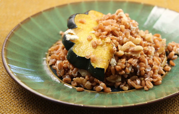 Maple Roasted Acorn Squash Farro Salad