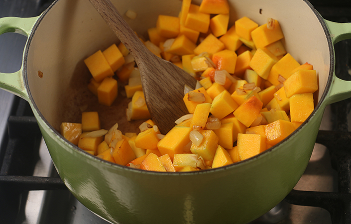 Butternut Squash Tomato Soup with Goat Cheese & Croutons