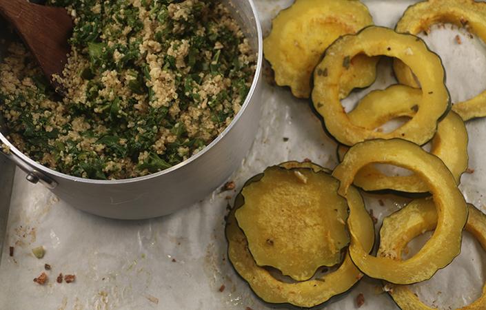 Acorn Squash Rings with Kale Quinoa Pilaf