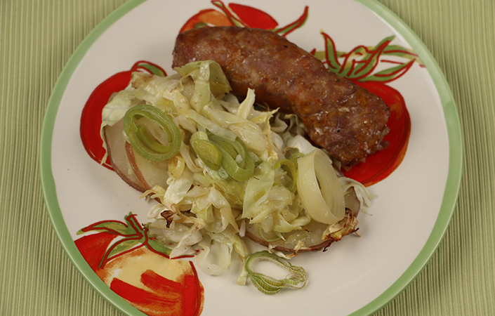 Baked Cabbage with Sausage, Potatoes, & Leeks