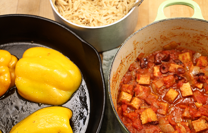 Orzo Stuffed Peppers with Tempeh