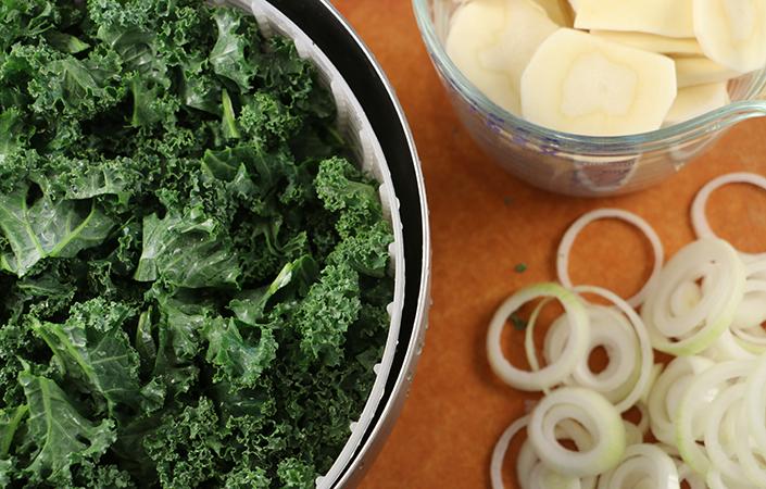 Creamed Parsnips & Kale