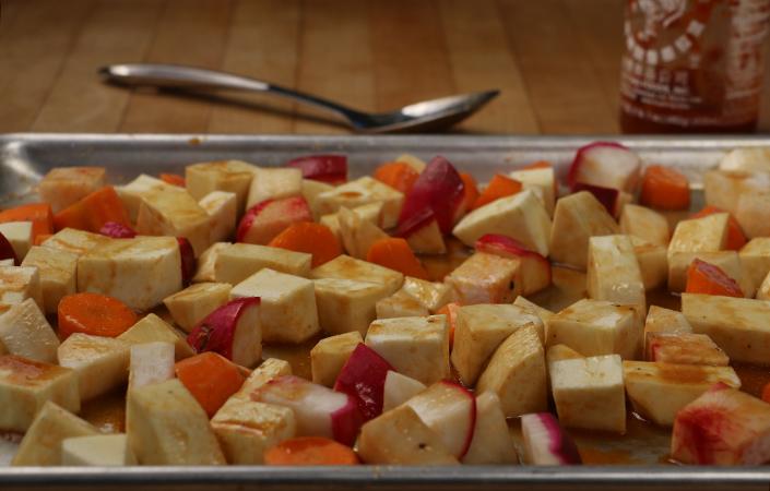 Sriracha Glazed Roasted Root Vegetables