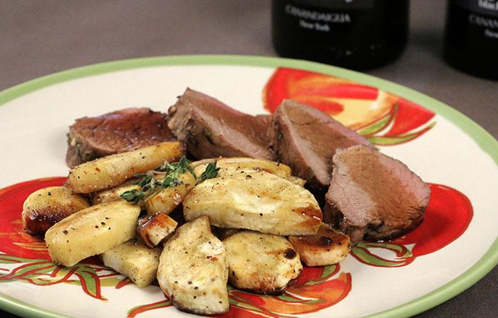 Balsamic Glazed Pork Tenderloin with Black Pepper Tarragon Parsnips