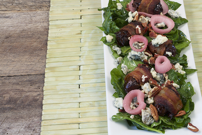 Spinach Salad with Bacon Wrapped Dates