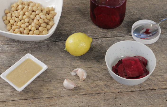 Pink Hummus with Pickled Beets