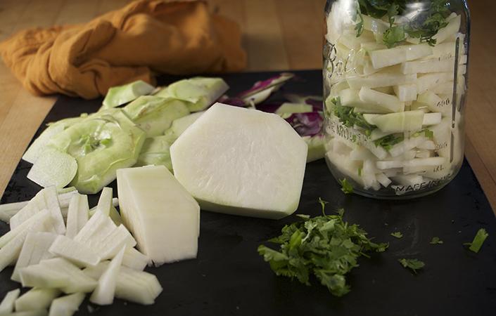 Cilantro Kohlrabi Pickles