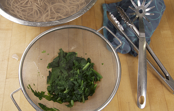 Mustard Greens and Soba Noodles in Miso Dressing