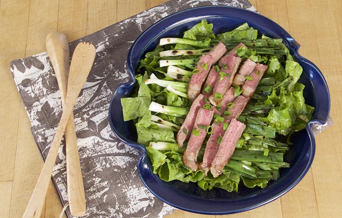 Grilled Scallion & Steak Salad