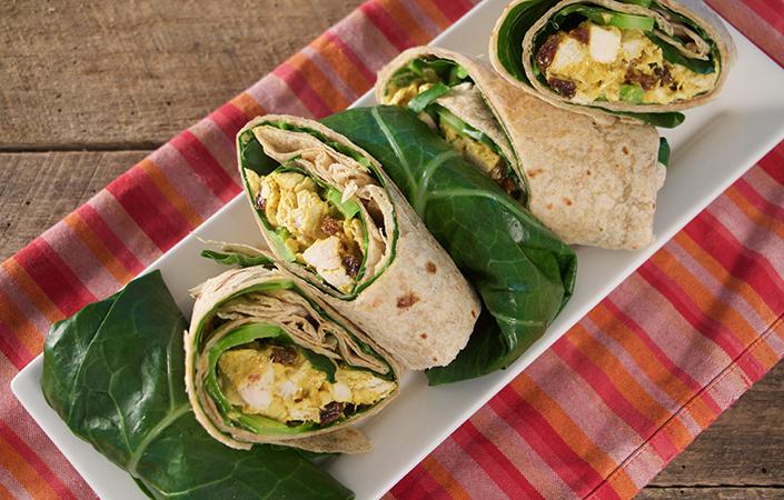 Curried Cashew Chicken Salad Collard Green Wrap
