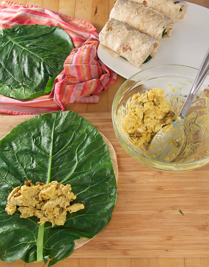 Collard Green Wraps with Chiicken Curry Salad