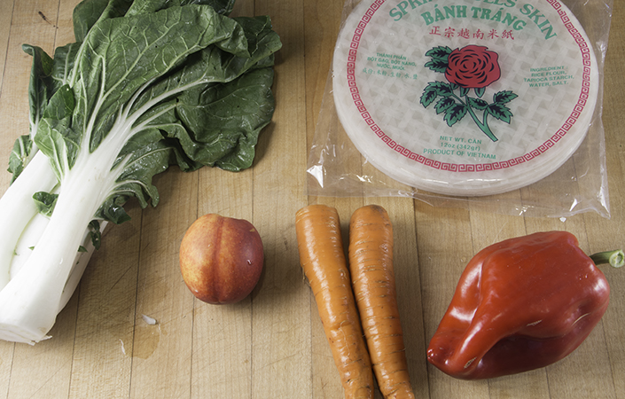 Summer Rolls with Bok Choy & Nectarines
