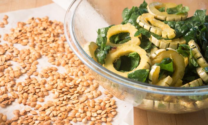 Delicata Squash Rings & Greens with Smoky Squash Seeds