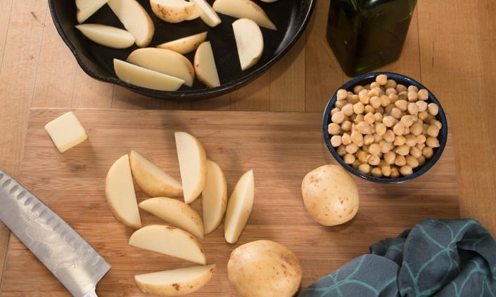 Skillet Roasted Potato Chickpea Salad