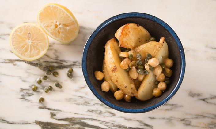 Skillet Roasted Potato Chickpea Salad-5