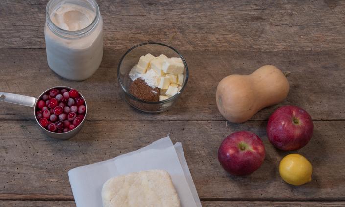 Apple-Cranberry Winter Squash Galette with Cinnamon Ice Cream