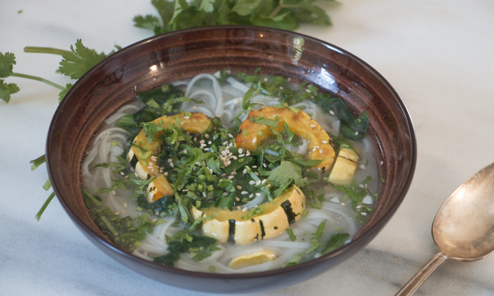 Miso Noodle Soup with Roasted Delicata Squash & Greens-7
