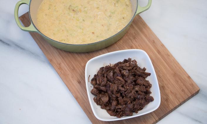 Balsamic Braised Beef Shank with Cheddar Leek Polenta-4