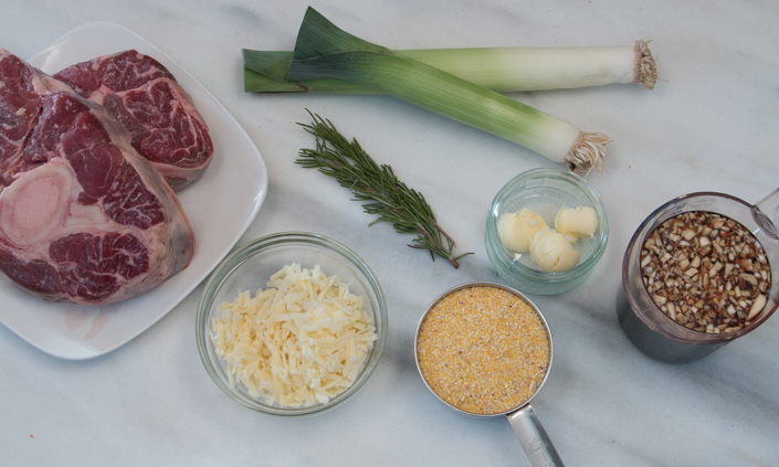 Balsamic Braised Beef Shank with Cheddar Leek Polenta
