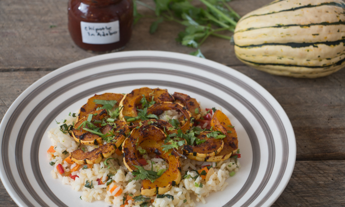 Chipotle Maple Delicata Squash & Cilantro Lime Rice