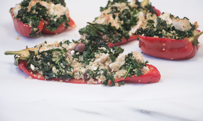 Peppers Stuffed with Greek Quinoa