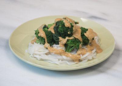 Rama Thai Noodles with Broccoli, Spinach, & Peanut Sauce
