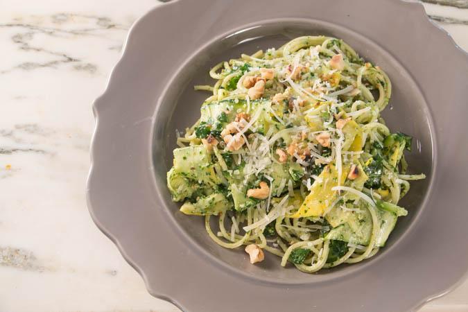 Summer Squash Noodles & Arugula Pesto