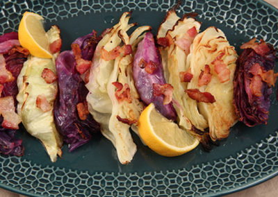 Roasted Cabbage Wedges with Bacon